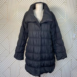 Eileen Fisher Down Quilted Puffer Coat in Black